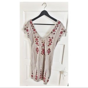 Embroidered Free People Deep V Tunic